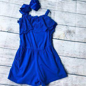 Girls sz S Royal Blue Romper & Bow